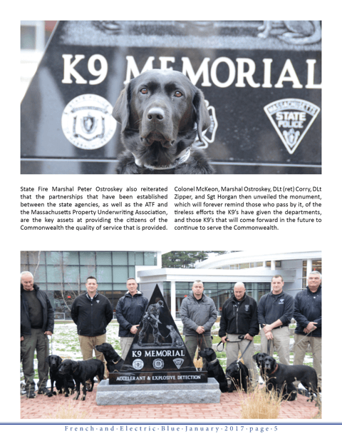Accelerant and Explosive Detection K9 Memorial Dedication
